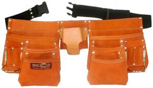 Pás s kapsami 3 řady - kožený Becco