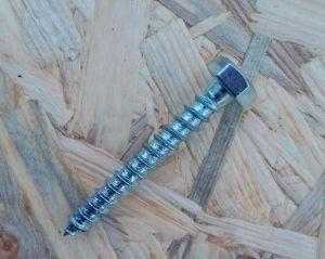 Vrut do dřeva se šestihrannou hlavou 10X75mm - DIN 571, bílý zinek