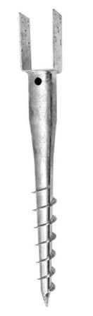 Zemní vrut s profilem / patkou U 100 mm, délka 700 mm