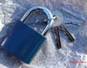 Zámek visací modrý, 3x klíč, 45 mm