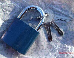 Zámek visací modrý, 3x klíč, 63 mm
