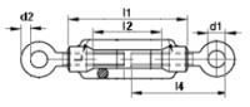 Napínák nerezový oko - oko, závit M12, DIN 1480