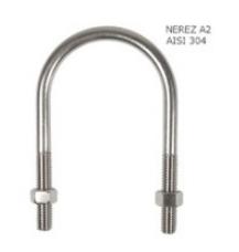 """Třmen nerezový na potrubí 20 - 27 mm, 3/4"""", M8, A2"""
