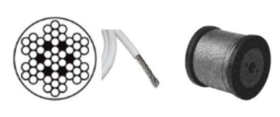 Lanko nerezové 3mm, s 4mm PVC bužírkou - nerez A4 - DIN 3055