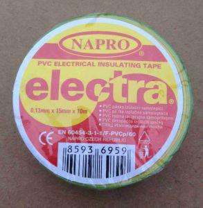 Izolačka elektrikářská PVC šíře 15mm délka 10m, zelenožlutá