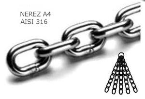 Řetěz nerezový krátký článek 4mm - cena za metr