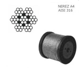 Nerezové lanko 4mm ,7x7, balení 100m, nosnost  270kg, nerez A4, DIN 3055