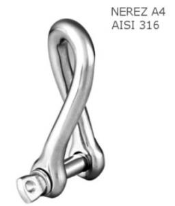 Třmen řetězový - kroucený typ 5mm, nosnost 80kg, nerez A4