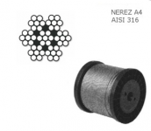 Nerezové lanko 6mm ,7x7, balení 100m, nosnost  600kg, nerez A4, DIN 3055