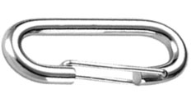 """Karabina """"ovál"""" 60mm, s pružinou, nosnost 100kg, bílý zinek"""